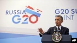 ႐ုရွားႏုိင္ငံ၊ စိန္႔ပီတာစပတ္ၿမိဳ႕မွာ G-20 စည္းေဝးပဲြတက္ေရာက္ေနတဲ့ အေမရိကန္သမၼတ ဘာရက္အိုဘားမား။ (စက္တင္ဘာ ၆၊ ၂၀၁၃)