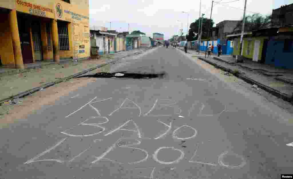 Un grafiti contre le président Joseph Kabila a été dessiné sur une route de la capitale, en RDC, le 20 décembre 2016.