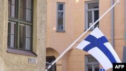 Le drapeau finlandais à Helsinki, le 13 mai 2017.