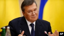 Ukraine's fugitive president Viktor Yanukovych speaks at a news conference in Rostov-on-Don, a city in southern Russia, Feb. 28, 2014.