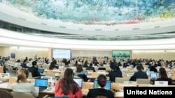 联合国人权理事会第37次会议有关叙利亚儿童权利被侵犯问题的讨论会。(2018年3月13日)