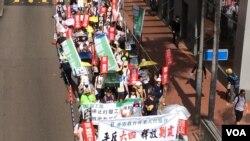 香港5.27爱国民主大游行的行进行列 (美国之音记者申华 报道)