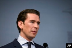 FILE - Austrian Chancellor Sebastian Kurz speaks at a press conferance during a visit to Helsinki, Finland, Nov. 7, 2018.