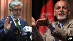 اشرفغنی احمدزی (راست) و عبدالله عبدالله، دو نامزد رقیب در دور دوم انتخابات ریاست جمهوری افغانستان که روز ۲۴ خرداد برگزار شد.