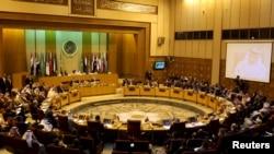 Pemandangan pertemuan menteri luar negeri Arab di Liga Arab di Kairo, Mesir, 10 Januari 2016.