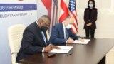 На фото: Міністри оборони США і Грузії підписали меморандум про співпрацю двох відомств. Тбілісі, 18 жовтня 2021.