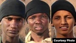Les trois photos des jihadistes publiées sur le compte Twitter du groupe. Photo d'archives (Aqmi/ Source Compte Twitter Aqmi)