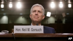 Supreme Court Justice nominee Neil Gorsuch listens on Capitol Hill in Washington, March 22, 2017, as he testifies at his confirmation hearing before the Senate Judiciary Committee.