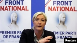 Marine Le Pen, France's National Front political party head, speaks at a news conference at the party's headquarters in Nanterre, near Paris earlier this year.