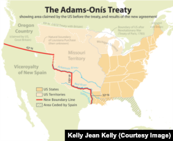 Adams-Onis Treaty map