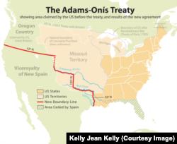Adams-Onis Treaty map