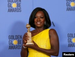 "Viola Davis holds the award for Best Performance by an Actress in a Supporting Role in any Motion Picture for her role in ""Fences"" during the 74th Annual Golden Globe Awards in Beverly Hills, CA, Jan. 8, 2017."