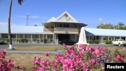 FILE - Exterior view of government offices of the small island nation of Nauru. Australia has flooded Nauru with money since 2012, when the island became a key plank in its controversial policy of dealing with asylum seekers.