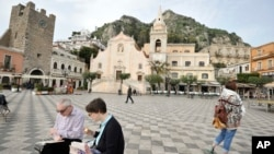 Plaza de Taormina, Italia donde a fines de mayo se realizará la cumbre del G-7.