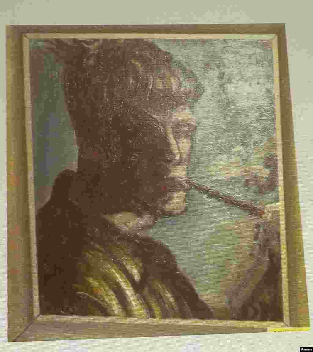 Un autoportrait, nouvellement découvert, du peintre allemand Otto Dix, rayonnait sur un mur lors d'une conférence de presse à propos des œuvres d'art retrouvées dans un appartement de Munich en 2011.