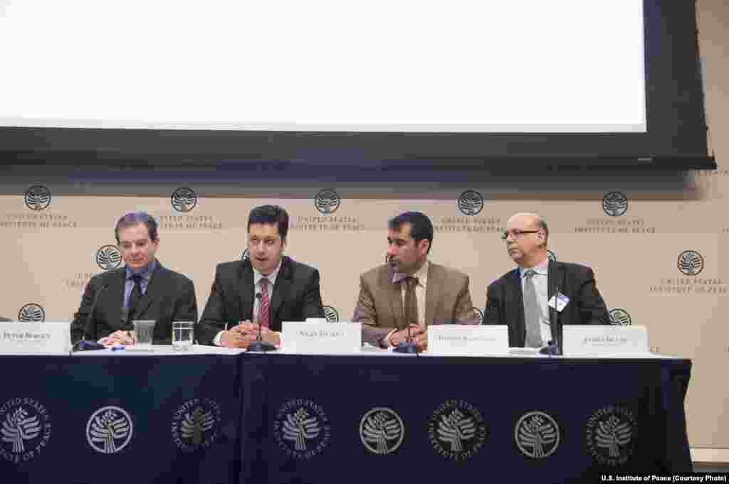 Panel 2 - The Future of Media in Afghanistan. (Left to Right): Peter Bergen, Najib Sharifi, Danish Karokhel, and James Deane