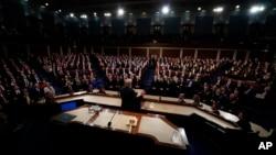도널드 트럼프 미국 대통령이 지난 1월 의회 상하원 합동회의에서 국정연설을 하고 있다.