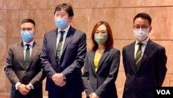 香港律師會8月24日舉行的理事改選,其中4名被視為親建制派的當選人(右起)傅嘉綿、黃巧欣、陳國豪、袁凱英 (美國之音/湯惠芸)