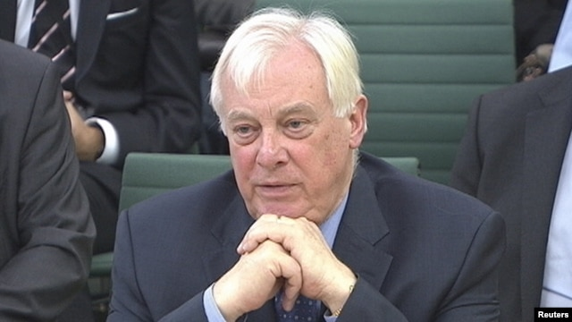 FILE - BBC Trust chairman Chris Patten appears before the Commons Culture, Media and Sport Committee as part of its examination into the BBC's response to the Jimmy Savile disclosures, in London, November 27, 2012.