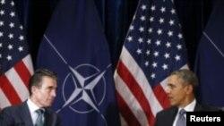 Президент США Барак Обама і генеральний секретар НАТО Андерс Фоґ Расмуссен, Брюссель, 26 березня 2014 року
