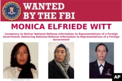 This image provided by the FBI shows part of the wanted poster for Monica Elfriede Witt. The former U.S. Air Force counterintelligence specialist who defected to Iran despite warnings from the FBI has been charged with revealing classified information to the Tehran government, including the code name and secret mission of a Pentagon program, prosecutors said Feb. 13, 2019.