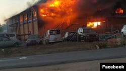 A Zimbabwe Revenue Authority warehouse burns in Beitbridge near the South African border.