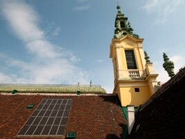 Solar panels are pictured on the roof of the Protestant Reformed Church in Vienna, Austria, April 9, 2013.