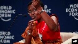 Winnie Byanyima, lors du Forum économique mondial sur l'Afrique à Abuja, au Nigéria.