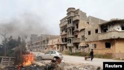 Benghazi en Libye, après des affrontements armés le 28 février 2016. (Photo REUTERS/Esam Omran Al-Fetori)
