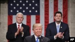 ولسمشر ډانلډ ټرمپ ملت ته د کانگرس په گډه غونډه کې د جنوري په ٣٠ - مه په واشنگټن کې خطاب وکړ.