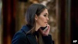 Bà Hope Hicks thư ký báo chí trong chiến dịch tranh cử của ông Trump và kể từ đó là một phụ tá của Tổng thống.
