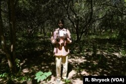 Ibrahima Ingo, a refugee from Senegal now living in Guinea-Bissau, holds up his citizenship registration as he stands in his cashew field in Pelundo, Nov. 11, 2018.