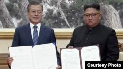 兩韓領導人第三次峰會簽署協議。