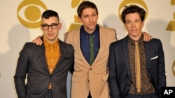 The band Fun, (L-R) Jack Antonoff, Andrew Dost and Nate Ruess pose for a photo backstage at the Grammy Nominations Concert Live! at Bridgestone Arena, December 5, 2012, in Nashville, Tenn.