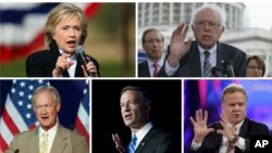 Democratic presidential candidates, clockwise, from top left, former Secretary of State Hillary Clinton, Vermont Senator Bernie Sanders, former Virginia Senator Jim Webb, former Maryland Governor Martin O'Malley and former Rhode Island Senator Lincoln Chafee.