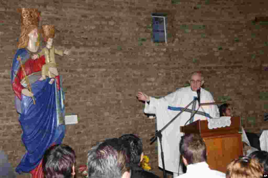 In this March 24, 2011 image released by the San Lorenzo de Almagro soccer team, Argentina's Cardinal Jorge Bergoglio speaks at the soccer club chapel in Buenos Aires.