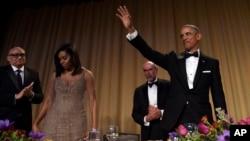 Le président des États-Unis Barack Obama le 30 avril 2016 au dîner annuel avec les correspondants de la Maison-Blanche.
