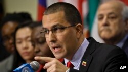 Umushikiranganji wa Venezuela ajejwe imigenderanire n'amakungu, Jorge Arreaza, mu kiganiro n'abamenyeshamakuru ku cicaro ca ONU, New York, 14/02/2019