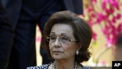已下台的前埃及總統穆巴拉克的妻子蘇珊.穆巴拉克交保後獲釋