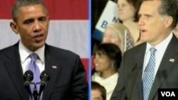 美国民主党总统竞选人奥巴马和共和党竞选人罗姆尼(视频截图)
