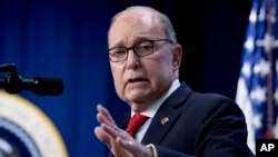 White House chief economic adviser Larry Kudlow speaks at an Opportunity Zone conference with State, local, tribal, and community leaders South Court Auditorium of the Eisenhower Executive Office Building, on the White House complex, April 17, 2019, in Wa