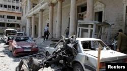 Poprište današnje eksplozije ispred stare zgrade sirijskog Ministarstva unutrašnjih poslova, u Damasku