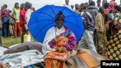 Wakimbizi ambao wanaishi katika kambi ya wakimbizi ya Kiziba huko Wilaya ya Karongi, Rwanda, Februari 21, 2018.