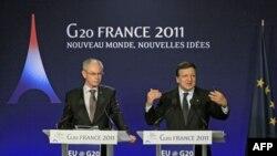 Predsednik Evropskog saveta Herman van Rompuj i predsednik Evropske komisije Žoze Manuel Barozo na konferenciji za novinare na marginama samita G20