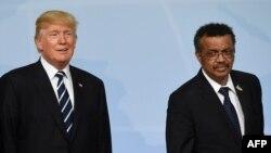 Shugaban Amurka Donald Trump (Hagu) da Shugaban WHO, Tedros Adhanom Ghebereysus (dama)