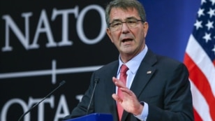 U.S. Secretary of Defense Ash Carter speaks at a news conference during a NATO defense ministers meeting at the alliance's headquarters in Brussels, Feb. 11, 2016.