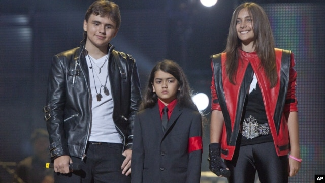 In this Oct. 8, 2011 file photo, from left, Prince Jackson, Prince Michael II