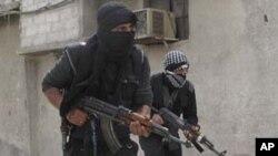 1일 시리아 수도 다마스쿠스에서 반정부군.