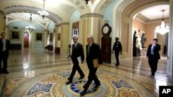 Sen. Mike Johanns, R-Neb., left, walks with Senate Minority Leader Mitch McConnell from Kentucky, to the Senate floor for a vote on the fiscal cliff on Capitol Hill, January 1, 2013.