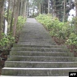"""黄洋界景点有个100多级的台阶,被称为""""好汉坡"""""""